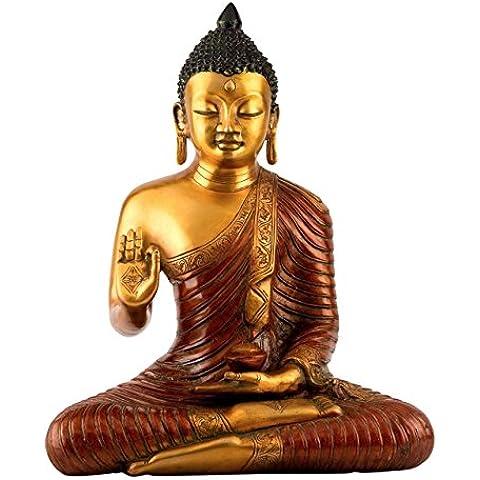 0,4m Large Thai Buddha–Statua in ottone scultura in bronzo anticato, da interni ed esterni, decorazione casa giardino Buddha