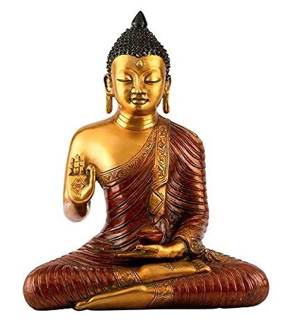 1,3m Grande statue bouddha Thaï–Finitions en laiton antique Sculpture en