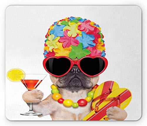 Verrückte Mausunterlage, tropische Ferien-themenorientierte Hundeflipflops-Sonnenbrille und Cocktail-exotisches Bulldoggen-Haustier, Standardgrößen-Rechteck-rutschfestes Gummimousepad, Mehrfarben,Gumm