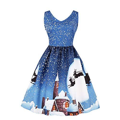 BHYDRY Damen Ärmellos Bogen Rockabilly Swing PartDEleid Faltenrock Weihnachts Drucken Elegant Cocktailkleid(XL,Blau c)