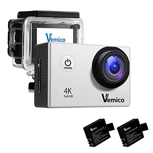Vemico Caméra Sports 4K Caméra Sport Full HD 16MP Wifi Etanche 40M Action Caméra Embarquée Grand Angle 170°Kit d'accessoires + 2 Batteries (Argent)