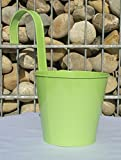 Hängetopf grün Pflanztopf mit Haken Übertopf Metall zum Hängen 50059