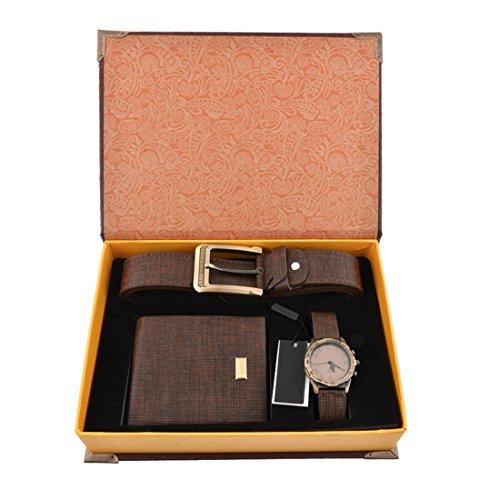 Luzoeo Herren Geschenkset mit Armbanduhr Geldbörse Gürtel Geschenkset für Herren Braun