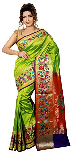 ARUNAFASHIONS Raw Silk Saree With Blouse Piece (Parrot Green_Free Size)