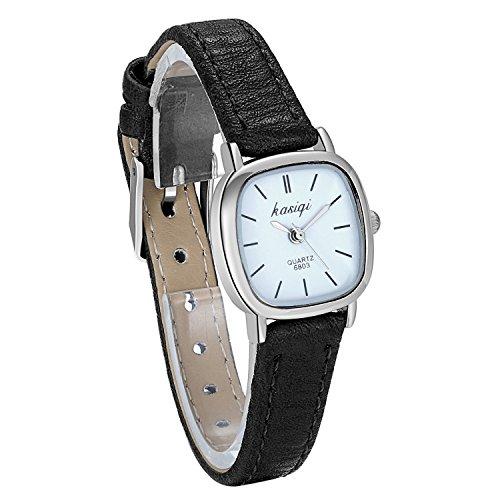 JewelryWe Damen Uhren Schwarz Leder Band Slim Uhr Frauen Kleid Mode Wasserdichte Klassisch Zeitlos Einfach Design Analog Quarz Armbanduhr mit Weiß Quadrat Zifferblatt