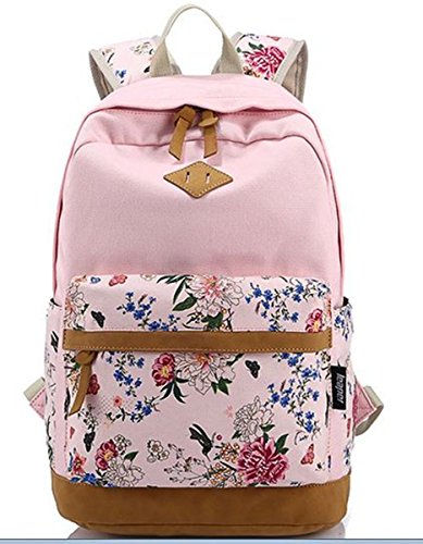 Niedliche Lightweight Canvas Bookbags Schule Rucksäcke für Teen Girls 1-Pink