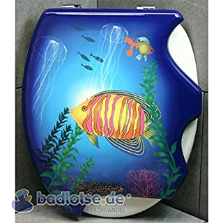 WC-Sitz BONIE weiß/blau Fisch Meer MDF-Holzkern Toilettensitz Klodeckel Klo