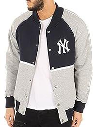 Majestic Giacca MLB New York Yankees Fleece Letterman Blu Grigio 139095ee25b