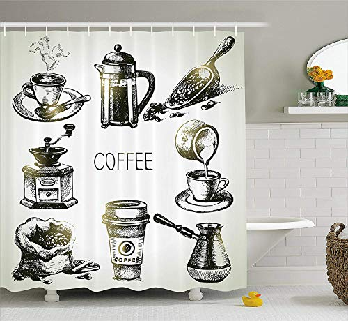 Paisley-scoop (JIEKEIO Coffee Shower Curtain, Brewing Equipment Doodle Sketch Grinder French Press Plastic Cup Scoop Vintage, Cloth Fabric Bathroom Decor Set with Hooks,60 * 72inch, Black Yellow)