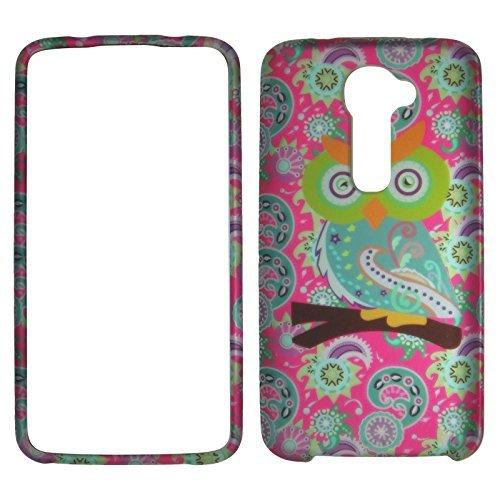 2D Eule auf Pink Paisley LG G2VS980(Passform nur Verizon) Schutzhülle Cover Snap auf Cover Fällen Displayschutzfolie matt gummierte Oberfläche Hard Shells Displayschutzfolie Lg G2 Verizon