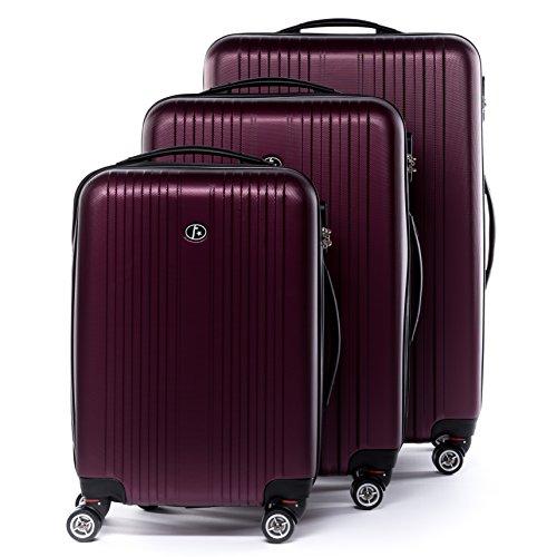FERGÉ Kofferset 3-teilig Hartschale Toulouse rot Rollkoffer Reise-Koffer Set 55 cm 66 cm 77 cm XL 3er Hartschalenkoffer Trolley-Set 4 Rollen 360°