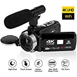 4K Videocámara HD de Alta definición Conectividad WiFi Cámara de Video Pantalla táctil de 3.0 Pulgadas Digital Videocamara Nocturna con Micrófono Externo