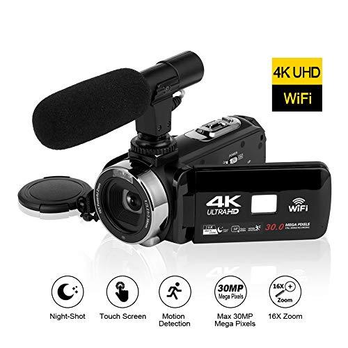4K Videokamera WiFi Konnektivität 3,0 Zoll Touchscreen Camcorder HD Nachtsicht videokamera mit externem Mikrofon (2019 Aktualisierte Version)
