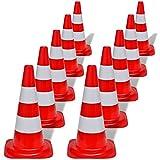 vidaXL Set 10 Coni stradali segnaletici riflettenti rosso e bianco 50 cm