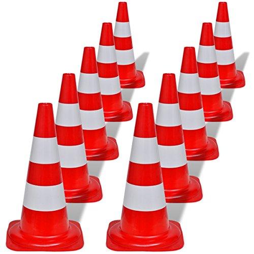 vidaXL Conos de tráfico reflectantes rojos y blancos 50cm (10 unidades)