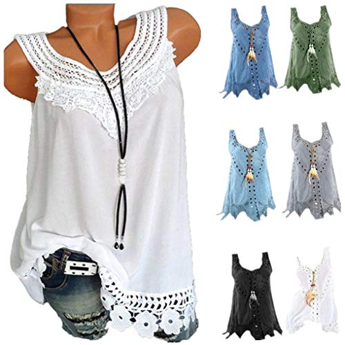 Damen Sommer Leinen Oberteile/Dorical Ärmellos Rundkragen Tank Tops Lang Weste Große Größen T-Shirt Vintage Casual Bluse Lose Oversized Tunika Tops Tee für Frauen Mutter (X-Large, Z03-Weiß) - 80's Vintage-shirt