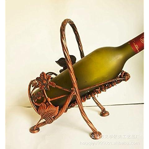 GXS Antigüedades champán bronce trébol estante del vino de uva tejidas a mano Creativo mentira