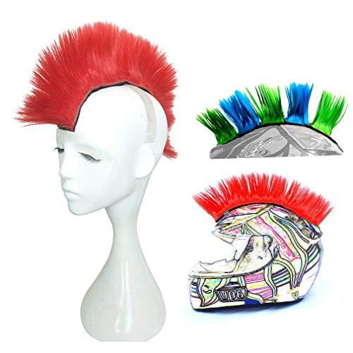 3T-SISTER Helm Mohawk Perücke Motorrad Kleber Mohawk Haar Patches Skinhead Kostüme Perücke, rot