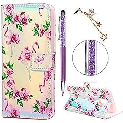 iAdvantec A6 2018 Hülle Case, Filp PU Leder Wallet Handyhülle Flipcase : Bookstyle Bunt Gemalt Tasche Brieftasche Schutzhülle für Samsung Galaxy A6 2018 in Flamingoblume + Stöpsel + Stylus