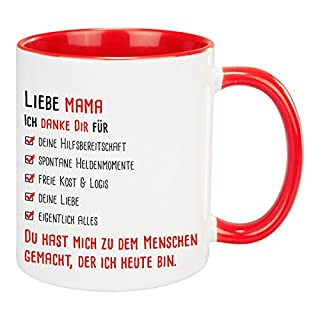 Tasse – Lieber Papa/Liebe Mama Ich danke Dir (Rot - für Mama) – bedruckte Kaffeetassen mit liebevollem Spruch – Geschenkidee zum Vatertag, Muttertag, Geburtstag