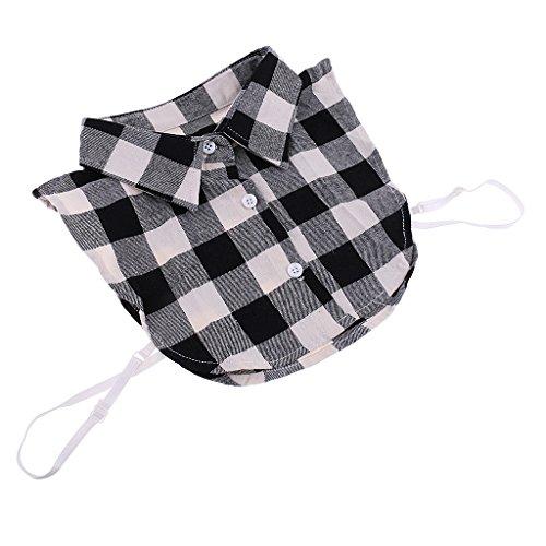 MagiDeal Damen Karo Falsche Kragen abnehmbare Halb Hemd Bluse Blusenkragen Krageneinsatz in vielen Farben - Schwarz, wie beschrieben (Peter-pan-kragen-bluse)