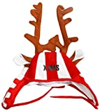 Susis Fashion Shop® Weihnachtsmütze mit X-MAS Druck rot weiß mit Elchgeweih & Ohren