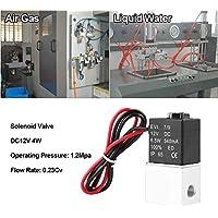 """Válvula Solenoide 12V 1/8"""",Válvula Solenoide Eléctrica 2 Vías Normalmente Cerrada de Aluminio,Para Aire, Gas, Líquido, Agua"""