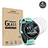 (Pack of 4) Tempered Glass Screen Protector for Garmin Forerunner 235 225 620 220, Akwox [0.3mm 2.5D High Definition 9H] Premium Clear Screen Protective Film for Garmin Forerunner 235 225 620 220