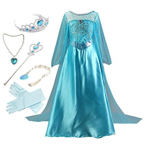 Anbelarui Prinzessin Kleid Mädchen Langes Festliches Karneval Kinder Glanz Kleider Weihnachten Verkleidung Karneval Partei Kostüm Outfit Halloween Fest (120 (Körpergröße 120cm, 05 Kleid&Zubehör)