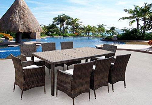 Rattan Wintergarten im Garten Möbel Terrasse Cube Tisch Stuhl Set 8-Sitzer Essen Cube Tisch Und Stuhl Im Set