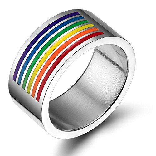 Edelstahlring Unisex (Damen Herren) Ringe Lesben Bandring Regenbogen Verlobungsring Größe 65 (20.7) - Adisaer (Hai Uruk Kostümen)