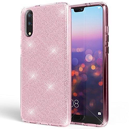 NALIA Handyhülle kompatibel mit Huawei P20, Glitzer Ultra-Slim Silikon-Case Back-Cover Schutzhülle, Glitter Sparkle Handy-Tasche Bumper, Dünnes Bling Strass Smart-Phone ETU, Farbe:Pink -