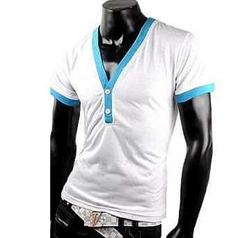 HerrenHerren T-Shirt Shirt V Ausschnitt Tanktop Tank top T shirt (S, Weiß B)