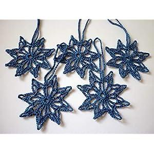 5x Häkelsterne, blau, Weihnachtsdeko