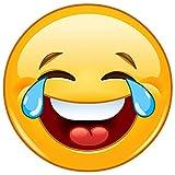 Aufkleber 'Smile with tears', Ø 9cm, Art. kfz_215, außenklebend für Auto, LKW, Motorrad, Moped, Mofa, Roller, Fahrzeuge, UV- und witterungsbeständig, für Waschanlagen geeignet