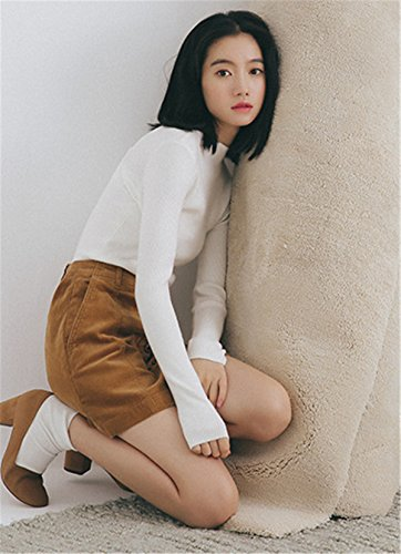 JOTHIN Letteratura e arte Maglieria Monocolore Eleganti Maglioni Half Collo alto Pullover Slim Fit Casual Sweater Donna Bianco