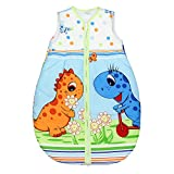 TupTam Babyschlafsack Wattiert ohne Ärmel ANK002, Farbe: Dino Blau, Größe: 104-110
