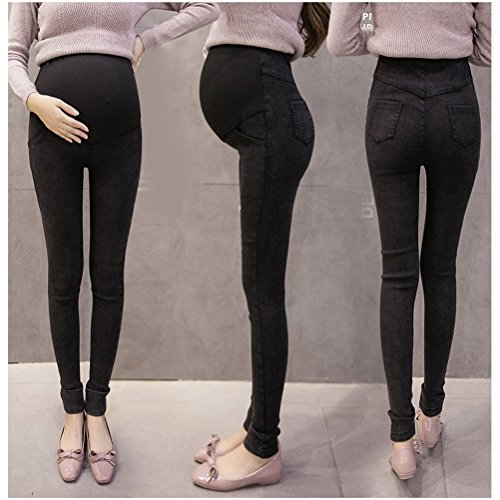 Zhhlaixing Denim Thicken Plus Velvet Maternité Trousers Pregnancy Pants Leggings Winter blue
