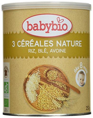 Babybio Trois Céréales Nature Riz Blé Avoine 250 g - Lot de 3