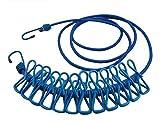 G2PLUS Flexible Wäscheleine mit 12 beschichteten Klammern 180 cm Ideal für Reisen (Blau)