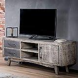 Pharao24 Fernseher Tisch aus Mangobaum Massivholz Industry Design