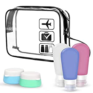 Silicone Travel Bottles with Clear Toiletry Bag Travel Size Bottel Toiletries Liquid Containers for Cosmetic Makeup with Storage Bag by ANRUI