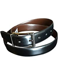 Perry Ellis Men's Reversible Leather Black Brown Dress Belt Chrome Buckle 36
