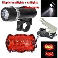 Wasserdicht LED Fahrradbeleuchtung ,OHQ 5 LED Lampe Fahrrad Frontscheinwerfer + Rück Sicherheit Taschenlampe + Bremslicht