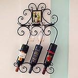 JASNO Schmiedeeiserne Wein Ständer Wand-Ablage Regal auf Dem Kopf auf Tasse Halter Halten bis Zu 4 Becher 3 Flaschen,Black