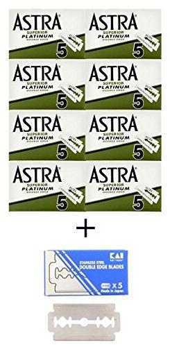 40 ASTRA - Superior Platinum Rasierklingen + 1 KAI Stainless Steel Rasierklingen 1 Kostenlose