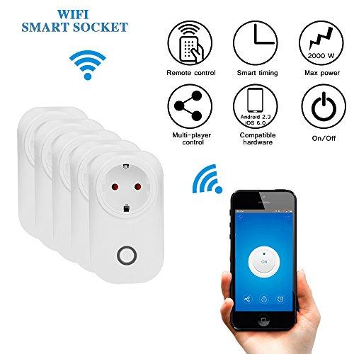 Smart Steckdose Fernbedienung WLAN Switch Steckdose Wireless Electrical Intelligent Outlet Mobile Voice / Remote / Timer Control Socket EU Plug für Android IOS Smartphone (Set von 5 Stück) (Set Switch Control Remote)