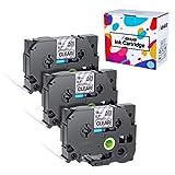 3x TZe-141 TZ-141 Schriftbände kompatibel für Brother P-Touch 1750 1800 1850 220 2400 2450 2460 2470 2480 300 310 340 350 3600 540 550 9400 9600 - Schwarz auf farblos 18mm x 8m