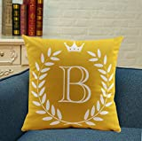 "ZUODU 45X45CM Letter Crown Printing Peach Skin-Like Decorative Pillow Cover Cushion Cover 18x18"" Free Combination (Letter B)"