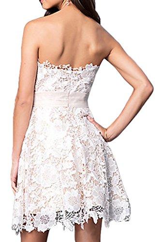 Gorgeous Bride Elegant Traegerlos Kurz Brautkleid A-Linie Satin Spitze Abendkleider Cocktailkleid Ballkleider Style D